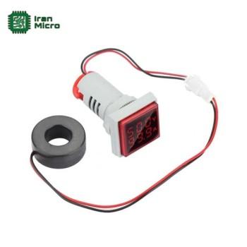 ولت متر و آمپر متر AC تابلویی (چراغ سیگنالی) - 500 ولت - 100 آمپر - مدل مربعی - قرمز