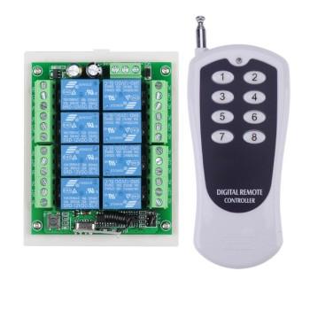 گیرنده + ریموت 8 کانال 12 ولت + جعبه (5 آمپر) - فرکانس 433 مگاهرتز