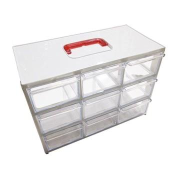 جعبه قطعات 9 کشو (3 طبقه - 3 ستون) بزرگ - سفید