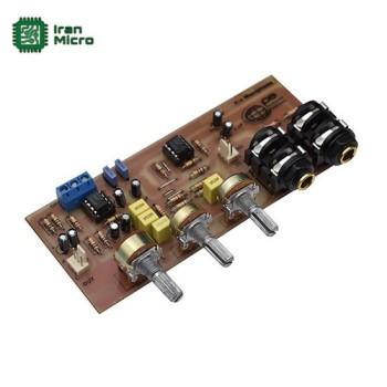 ماژول پری میکروفون - ورودی لاین استریو - دارای 2 ورودی میکروفون (کد 429)