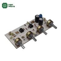 ماژول پری آمپلی فایر و تون کنترل 4 پارامتری استریو منبع تغذیه دار دوبل ولتاژ (کد 433)