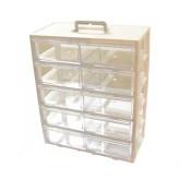 جعبه قطعات 10 کشو (5 طبقه * 2 کشو) - سفید - بزرگ