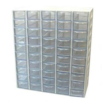 جعبه قطعات 50 کشو (5*10) سفید (با جدا کننده داخلی)
