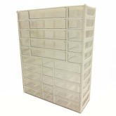 جعبه قطعات 30 کشو (10 طبقه - 3 سایز) سفید