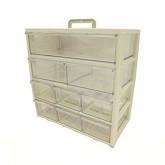 جعبه قطعات 11 کشو (5 طبقه - 3 سایز) - سفید - بزرگ