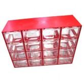 جعبه قطعات 16 کشو (4*4) قرمز | سایز متوسط