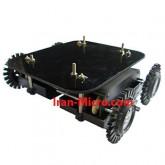 شاسی روبات مربعی 4 چرخ (شاسی + موتور + جا باتری + چرخ)