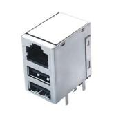 کانکتور USB دوبل + کانکتور شبکه RJ45