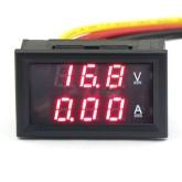 ولت متر - آمپر متر پنلی 3 رقمی - 100VDC 10A (قرمز - قرمز)